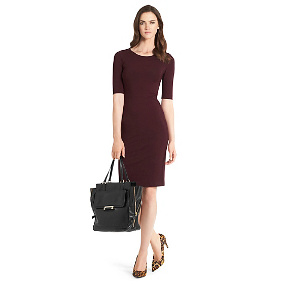 DVF Raquel Knit Bodycon Dress in brazen plum