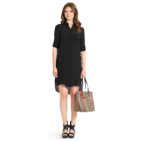 DVF Prita Shirt Dress in black