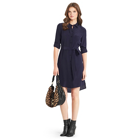 DVF Prita Shirt Dress in dark moon