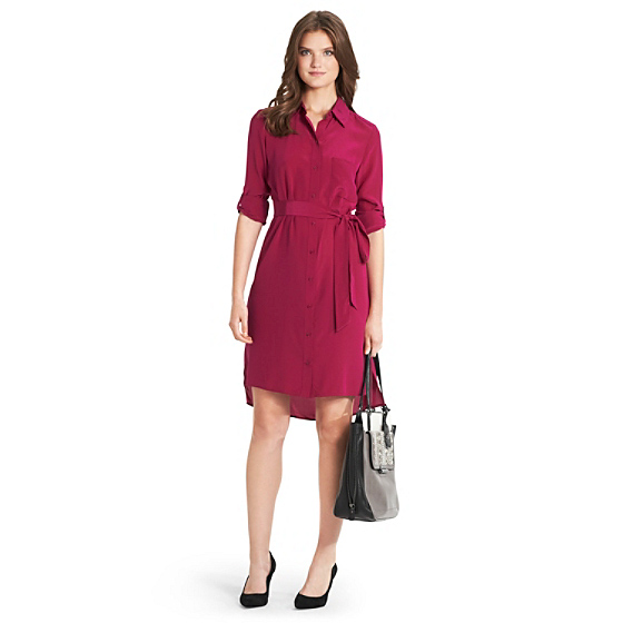 DVF Prita Shirt Dress in rouge
