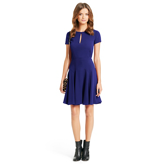 DVF Raizel Fit and Flare Dress in ultramarine