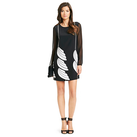 DVF Bizzy Wing Print Dress in wing gode