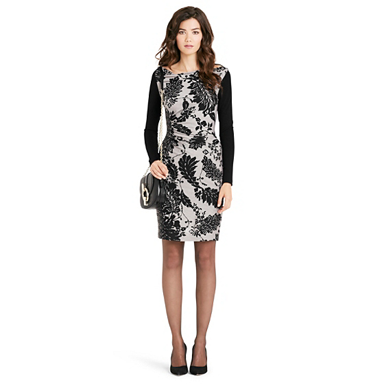 DVF Kirby Long Sleeve Silk Jersey Dress in lace flutter black