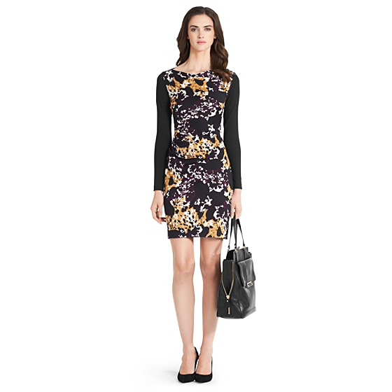 DVF Kirby Long Sleeve Silk Jersey Dress in cheetah splash maroon/ black
