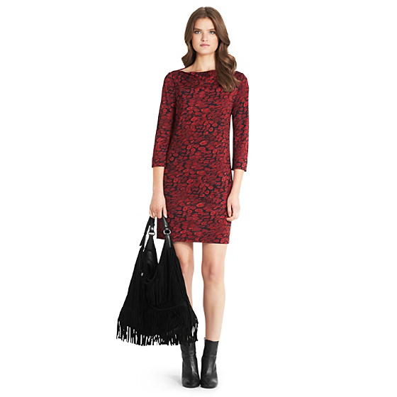 DVF Ruri Printed Silk Jersey Dress in animal rain red