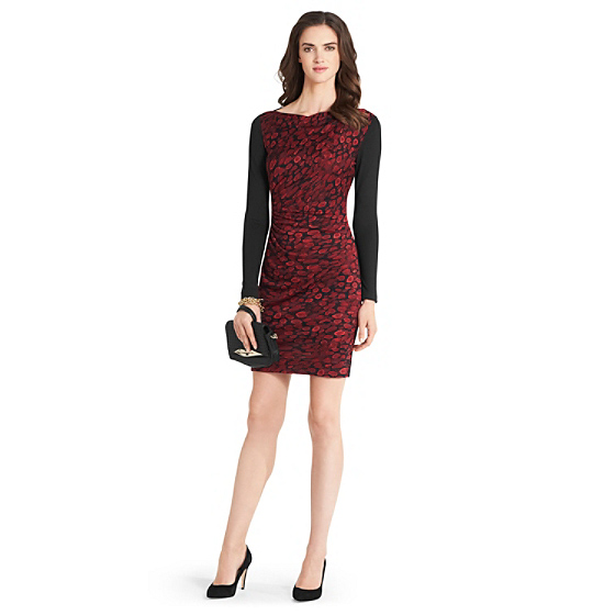 DVF Kirby Long Sleeve Silk Jersey Dress in animal rain red/ black
