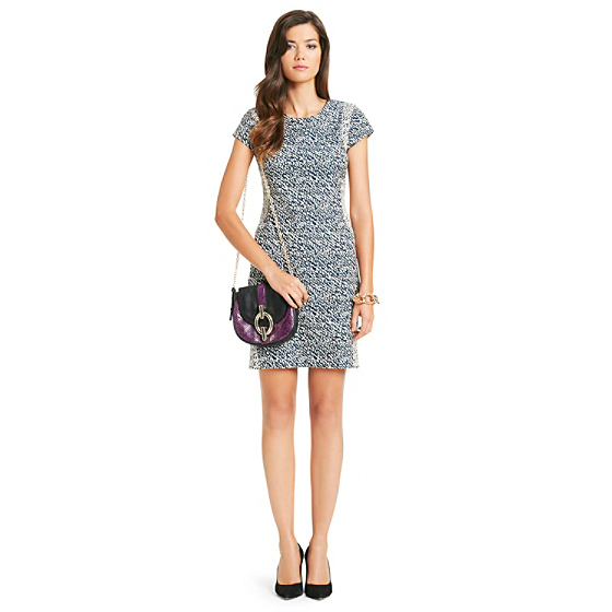 DVF Pele Snake Wave Print Dress in dark moon/ cream