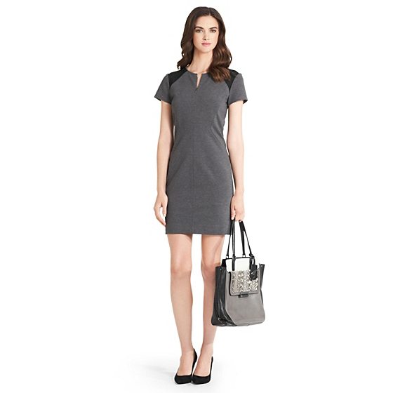 DVF Havana Mesh Detail Knit Dress in grey slate/ black