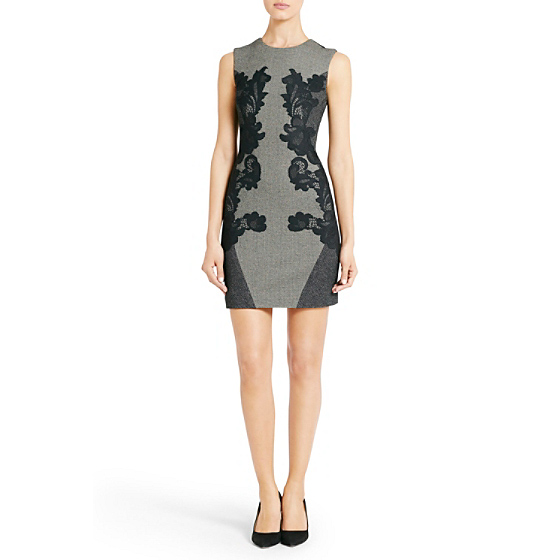 DVF Pentra Mini Weave Dress in black/white