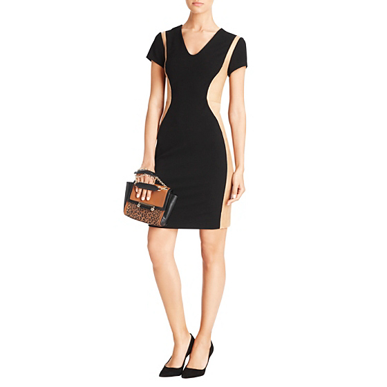 DVF Dayton Leather Paneled Dress in camel/black