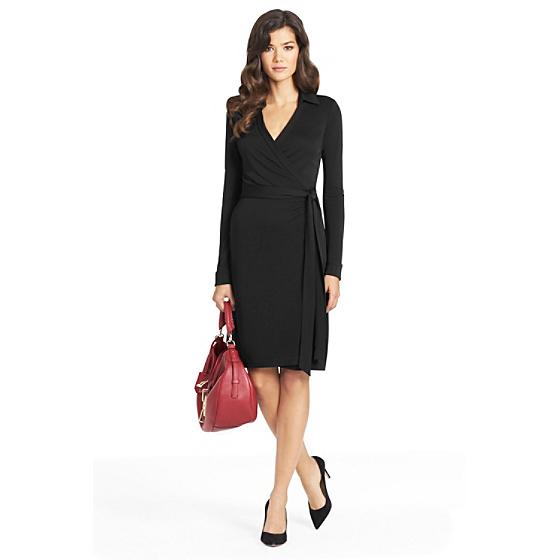 DVF New Jeanne Two Matte Jersey Wrap Dress in black