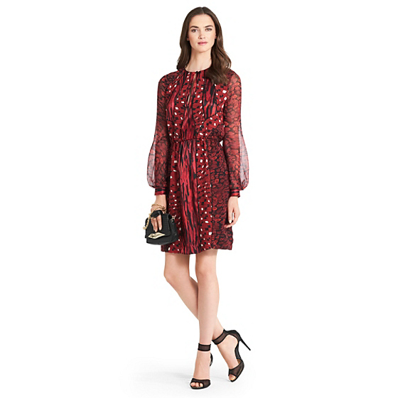DVF Kit Printed Chiffon Dress in animal rain red combo