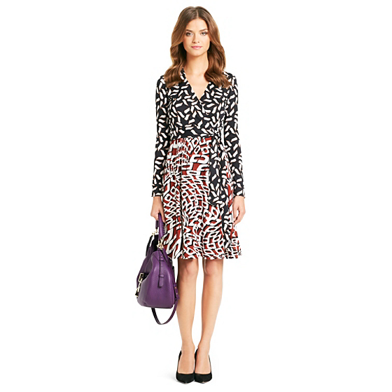 DVF T72 Combo Print Silk Jersey Wrap Dress in chain warp vicuna/ snake combo
