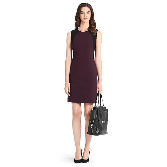 DVF Hallie Knit Bodycon Dress in brazen plum/ black