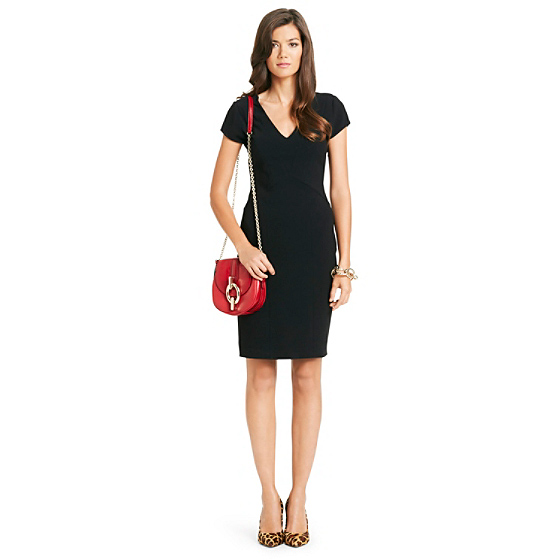 DVF Norma V-neck Dress in black