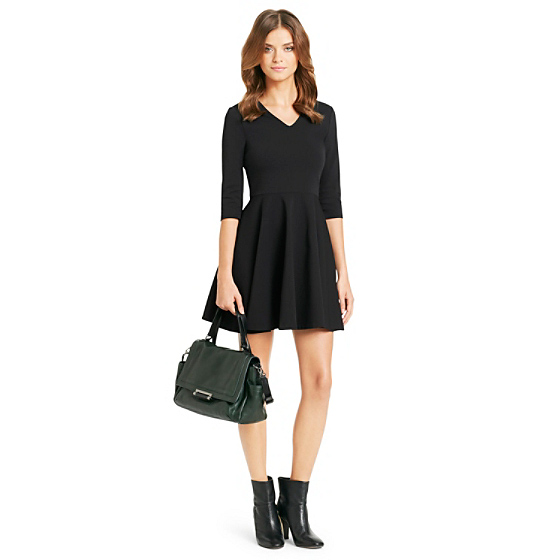 DVF Jeannie V-Neck Fit and Flare Dress in black