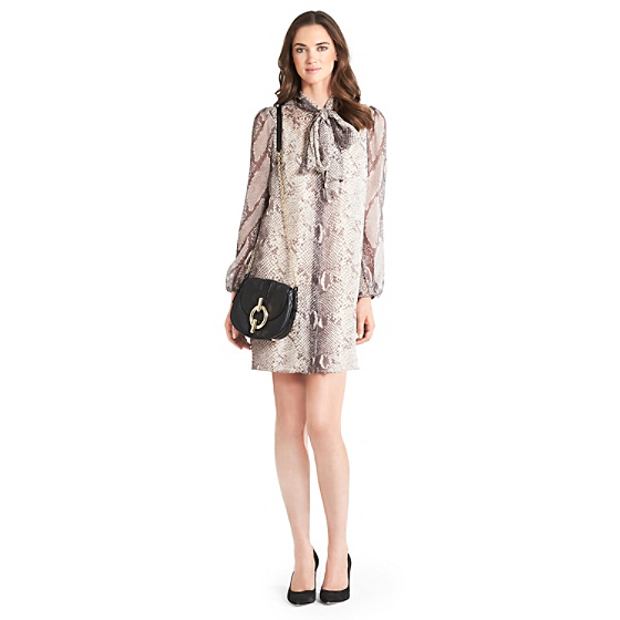 DVF Jezebel Printed Chiffon Tie Dress in python grey