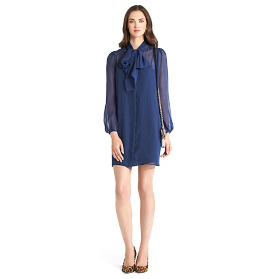 DVF Jezebel Chiffon Tie Dress in midnight sea