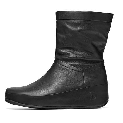 FITFLOP CRUSH BOOT LEATHER BLACK