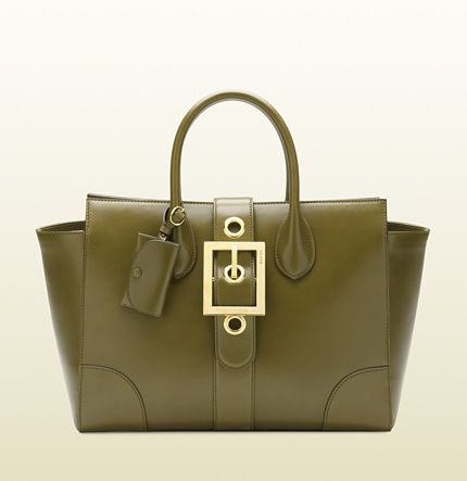 Gucci lady buckle leather top handle bag