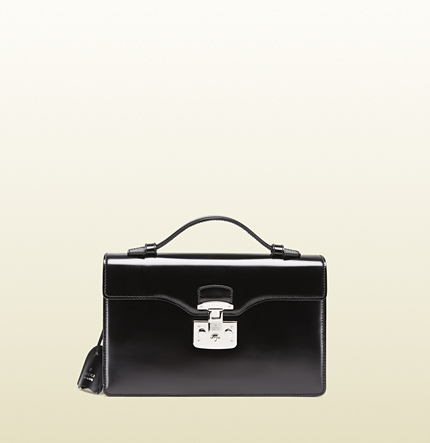 Gucci lady lock leather briefcase clutch