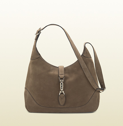 Gucci jackie khaki nubuck leather shoulder bag