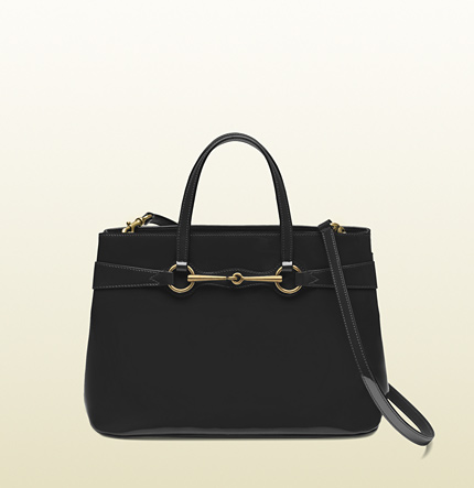 Gucci bright bit black patent leather top handle tote