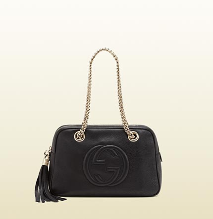 Gucci soho black leather shoulder bag with double chain straps