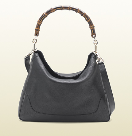 Gucci diana bamboo handle black leather shoulder bag