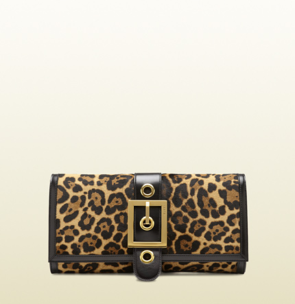 Gucci lady buckle jaguar print clutch