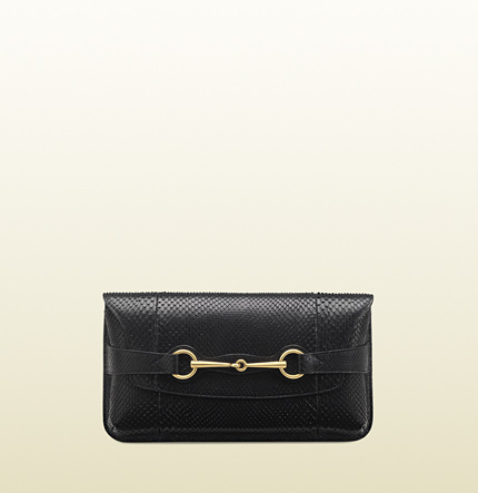 Gucci bright bit black python clutch
