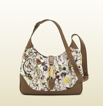 Gucci jackie flora canvas shoulder bag