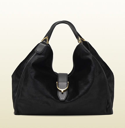 Gucci soft stirrup black pony shoulder bag