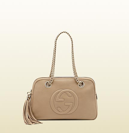 Gucci soho cream leather shoulder bag with double chain straps