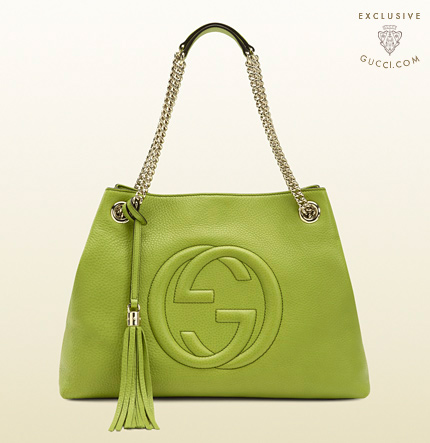 Gucci soho apple green leather shoulder bag