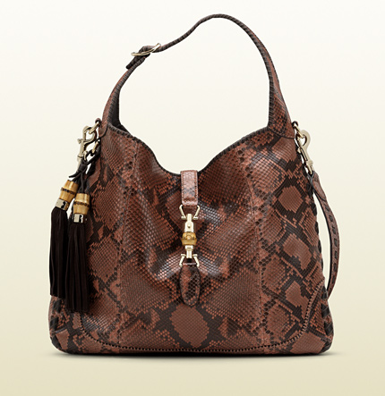 Gucci new jackie coral python shoulder bag
