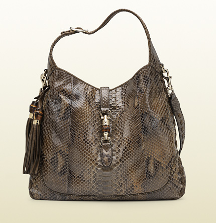 Gucci new jackie smog python shoulder bag