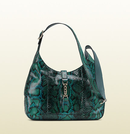 Gucci jackie malachite green color python shoulder bag