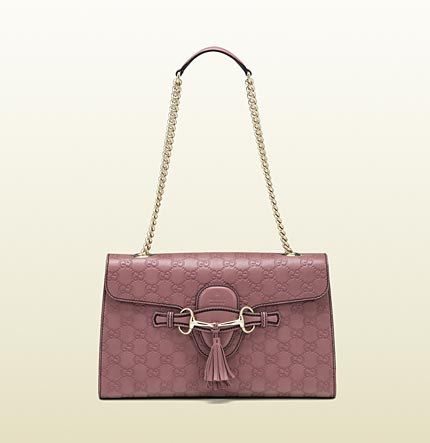 Gucci emily dark pink guccissima chain shoulder bag