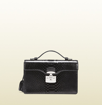 Gucci lady lock python briefcase clutch
