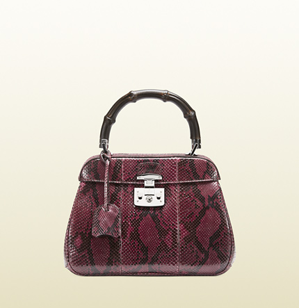 Gucci lady lock python top handle bag