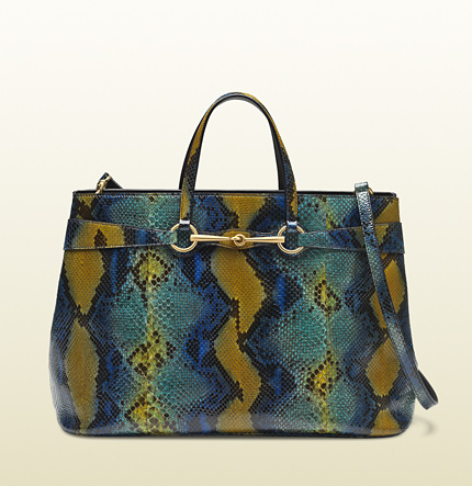 Gucci bright bit multicolor python top handle tote