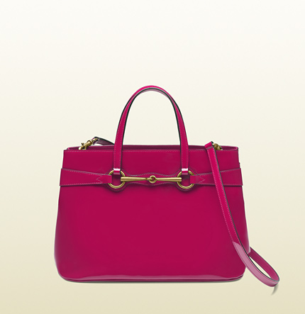 Gucci bright bit patent leather top handle tote
