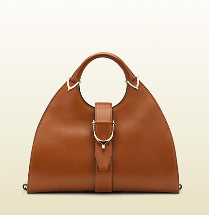 Gucci stirrup cuir color leather top handle bag