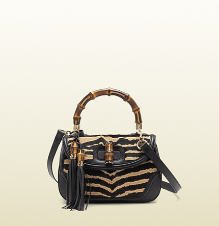 Gucci new bamboo zebra print calf hair top handle bag