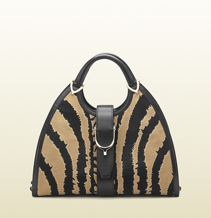 Gucci stirrup black/caramel zebra print calf hair top handle bag