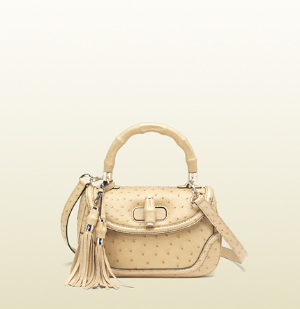 Gucci new bamboo ostrich top handle bag