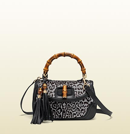Gucci new bamboo leopard printed top handle bag