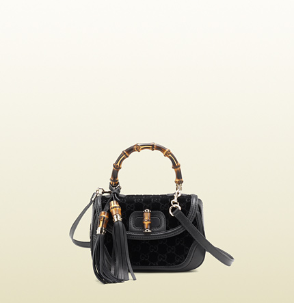 Gucci new bamboo GG velvet top handle bag