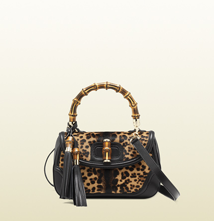 Gucci new bamboo jaguar print top handle bag